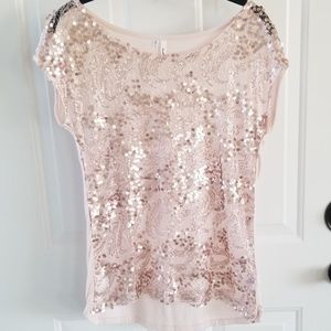 Studio Y shimmer sheer front top size Small